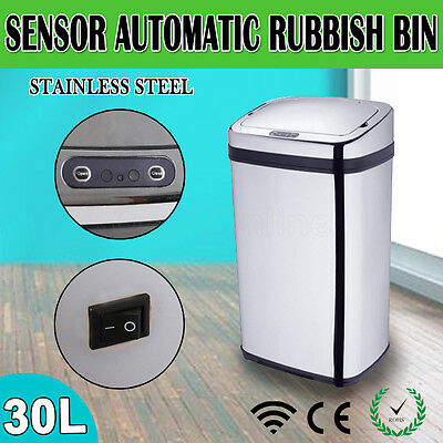 30L Motion Sensor Touchless Rubbish Bin Automatic Infrared Trash Can Kitchen New