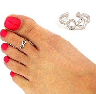 Toe Ring Foot Beach Celebrity Knuckle Silver Infinity Open Cuff Jewellery