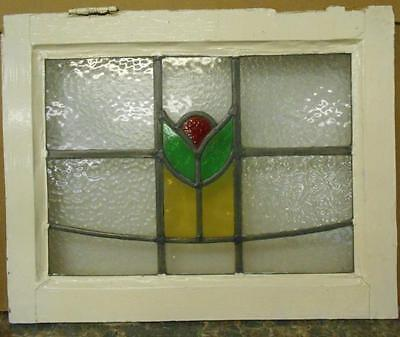 "OLD ENGLISH LEADED STAINED GLASS WINDOW Pretty Floral 20.25"" x 16.25"""