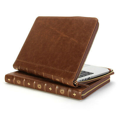 MacBook Pro Retina 13 Sleeve - GMYLE Book Case Vintage - Brown Zipped Cover