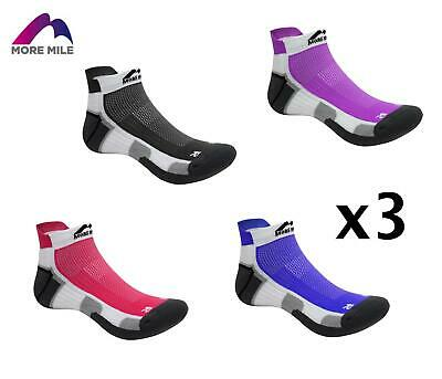 3 Pairs Of More Mile Mens Womens Miami Ankle Running Sports Gym Cushioned Socks