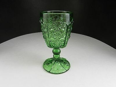 "LG Wright Daisy & Button Water Goblet Green 6 1/8""  T"