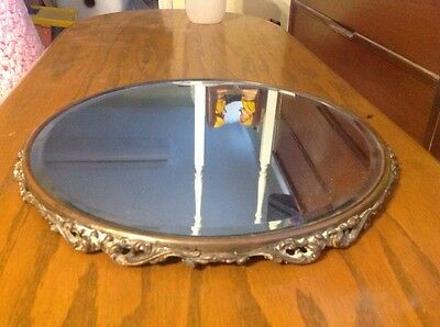 "Antique 17"" Victorian Metal Vanity Display Mirror Tray Footed Beveled Glass"