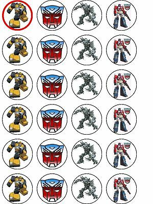 24 X Transformers Rice Paper Birthday Cake Toppers