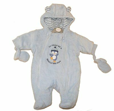 Adorable Baby Boys Penguin Design Blue Padded Pram Suit by Aardvark Baby