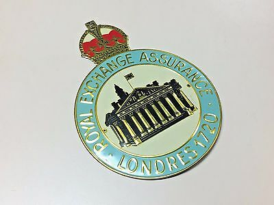 Old Tin Fire mark insurance house plate plaque sign Royal Exchange Assurance