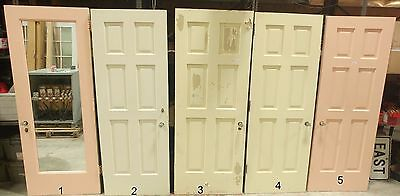 Antique Doors - 6 Panels, Original Brass Hardware, Crystal Knobs, Mirrors- c1915