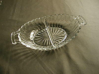 Vintage Fostoria Glass Crystal Relish Dish - Colony - 2 Sections & 2 Handles
