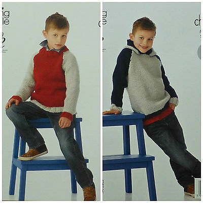 KNITTING PATTERN Boys Easy Knit 2 Colour Jumper & Hoodie Chunky King Cole 3990