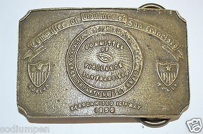 Vintage Committee of Vigilance San Francisco Brass Belt Buckle SF CA RARE