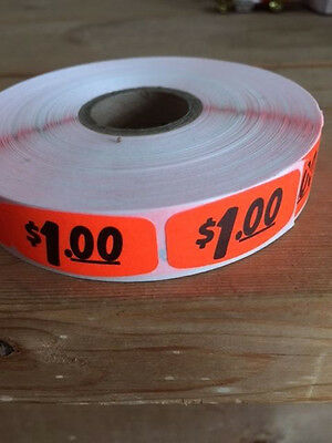 "1.25"" x .625"" $1.00 MERCHANDISE LABELS 1000 PER ROLL FL RED BLACK STICKER"