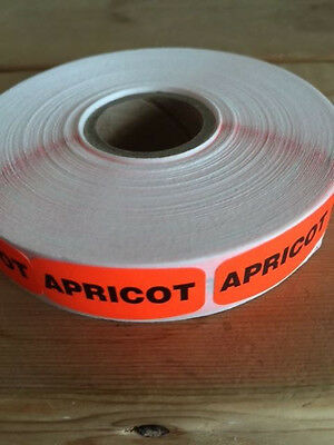 "1.25"" x .625"" APRICOT MERCHANDISE LABELS 1000 PER ROLL FL RED BLACK STICKER"