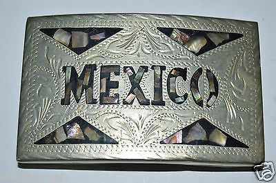 Vintage Abalone Silver Plated Ornate MEXICO Alpaca Western Belt Buckle