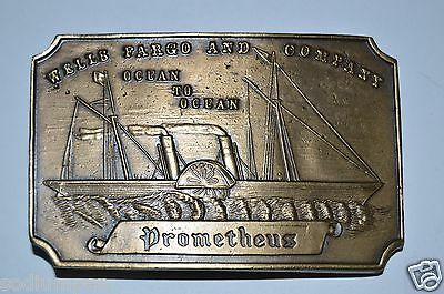 Vintage Wells Fargo & Co Bank Ocean Nautical Brass Belt Buckle RARE NM