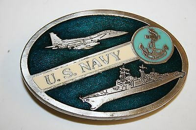 Vintage NAVY Jet Aircraft Carrier Nautical Military Belt Buckle Rare MINTY
