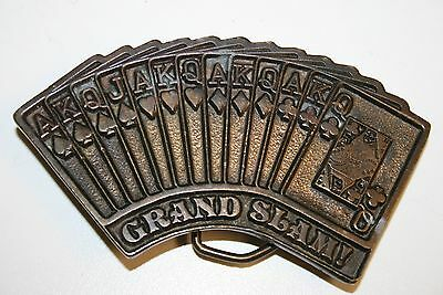 Vintage Fanned Cards GRAND SLAM Poker ADezy 1976 Brass Belt Buckle