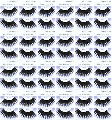 24pr / 2 Dozen - #301 LONG BLACK FALSE SHOWGIRL EYELASHES/COSTUME/ DRAG QUEEN