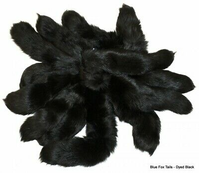 "10pc -Large BLACK 100% GENUINE FOX TAILS-DYED LOT/PAGEANT QUEEN/DRAG ( 14""-17"" )"