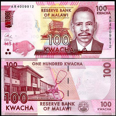 Malawi 100 Kwacha 2014 (2015) P New Sign Blind Feature Unc