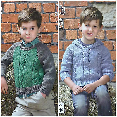 KNITTING PATTERN Childrens Long Sleeve Cable Hoodie Aran King Cole 3977