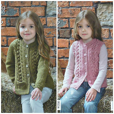 KNITTING PATTERN Girls Bobble & Cable Cardigan and Waistcoat Aran King Cole 3976