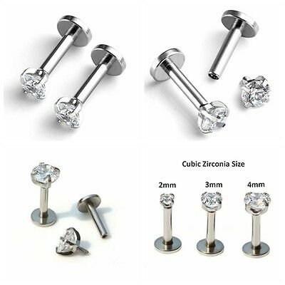 Surgical Steel CZ Labret Monroe Lip Rings Stud Earrings 16G Piercings Punk Gem
