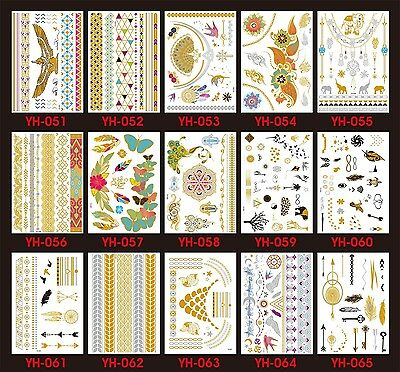 UK Metallic Temporary Tattoo Flash Gold Silver Black Tattoos Body Art Jewelry