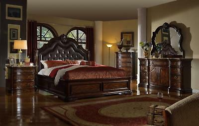 Mcferran RB6002 Tuscan Leather Eastern King Size Bedroom set 5.pc Traditional