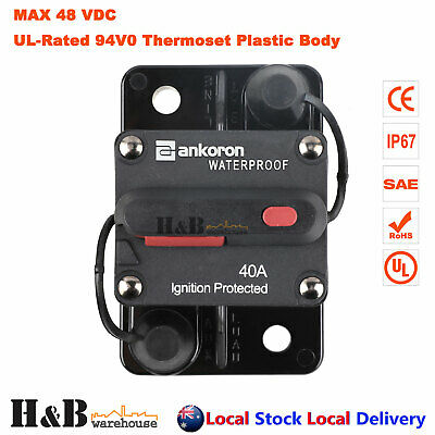 40A AMP Circuit Breaker Dual Battery IP67 Waterproof 12V 24V Fuse Reset C0063