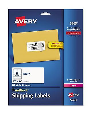 Avery TrueBlock Shipping Address Labels Laser Printers 2 x 4 White Smooth White