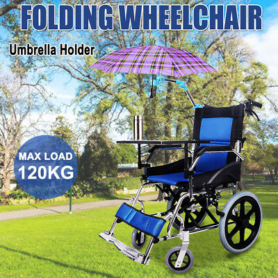 Light Weight Folding Wheelchair Manual Mobility Aid Park Brakes Push Aluminum AU