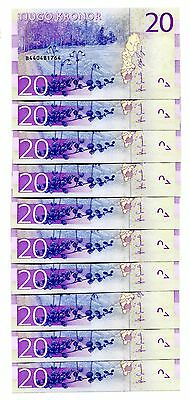 Sweden 20 Kronor Nd(2015) P-New Unc Lot 10 Pcs
