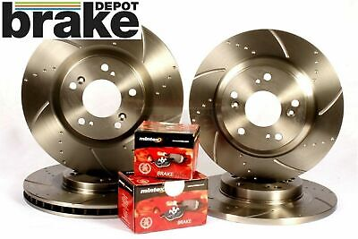 For Nissan 300ZX Front & Rear Evora Dimpled & Grooved Brake Discs & Mintex Pads