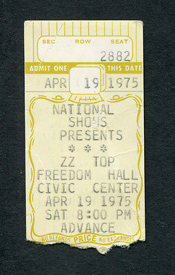 1975 ZZ Top Status Quo Concert Ticket Stub Johnson City TN Fandango Tour