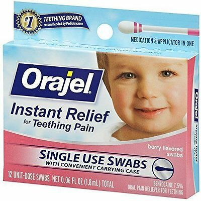 5 Pack - Baby Orajel Fast Teething Pain Relief Teething Swabs Berry 12 Each