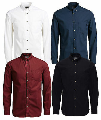 JACK & JONES Long Sleeve Shirt New Mens Slim Fit Plain Casual Smart Gavin Shirts