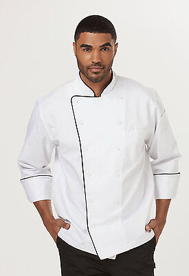 White with Black Dickies Executive Chef Coat with Piping DC42B WTBK
