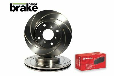 Ford Focus 2.5 ST ST225 Front Evora Grooved Brake Discs & EBC Ultimax Pads