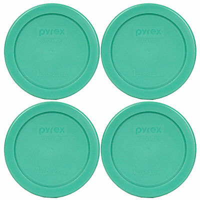 """Pyrex 7202-PC 4"""" Round Green Replacement Lid 4 Pack For 1 Cup Glass Bowl New"""