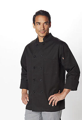 Black Dickies Classic 10 Button Chef Coat DC47 BLK