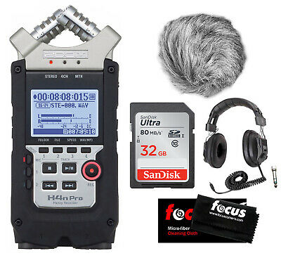Zoom H4N PRO Four-Track Handy Audio Recorder w/ Wind Screen + Accessory Bundle