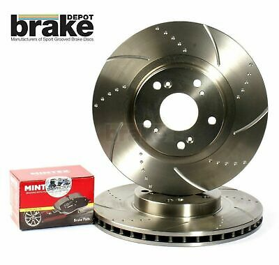 For Nissan 350Z Front Evora Dimpled Grooved Brake Discs & Mintex Pads - brembo