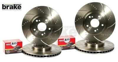 For Nissan 350Z Front Rear Evora Dimpled Grooved Brake Discs & EBC Pads - brembo