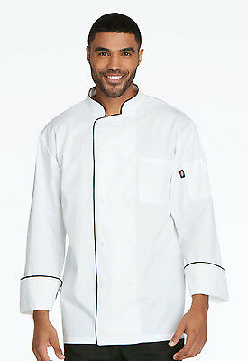 White Dickies Cool Breeze Chef Coat with Black Piping DC411 WTBK