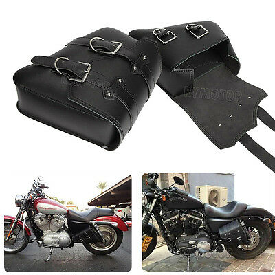 2× Motorcycle Leather Tool Saddle Bag for Harley Sportster XL 883 1200 Chopper