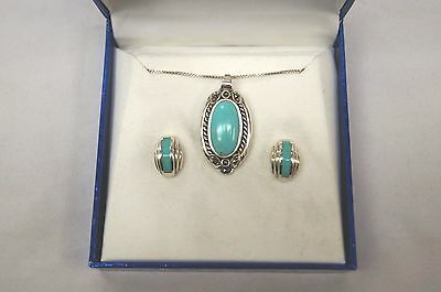 Navajo .925 Sterling Silver Turquoise Oval Pendant, Necklace & Earrings Set