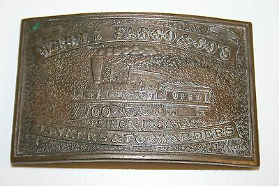 Vintage WELLS FARGO and Co Banking Forwarders Field Telegraph Brass Belt Buckle