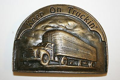 Vintage High End 1970s Keep On Truckin' Heavy Thick Brass Belt Buckle Rare