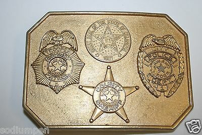 Vintage 1976 Oklahoma OK Police Trooper Sheriff Law Enforcement Belt Buckle Rare