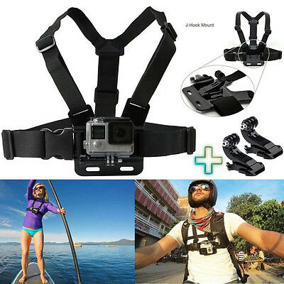 Chest Strap Harness Mount Adjustable GoPro HD Hero 1 2 3 3+ 4 Camera + 2x J Hook